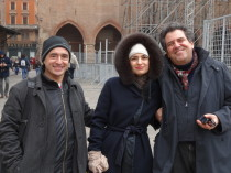 In Bologna, main piazza after the concert in memory of Lucio Dalla
